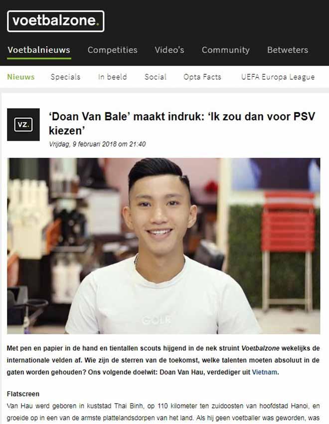 """Đoàn Văn Hậu lên báo Hà Lan: """"Gareth Bale Việt Nam"""" gia nhập PSV?"""