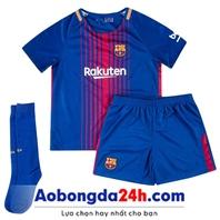 Áo bóng đá trẻ em Barcelona trẻ em 2018 sân nhà