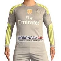 Áo đá banh dài tay Real Madrid 2015-2016 xám Sân khách
