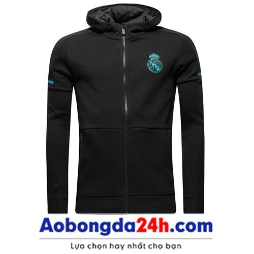Áo khoác thể theo Real Madrid đen 2018 (Mẫu 02)