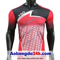 Áo bóng đá không logo Traning đỏ đen (mẫu 63)