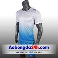 Áo đá bóng không logo All Black trắng xanh