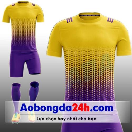 Áo bóng đá Không Logo All Black Vàng Tím