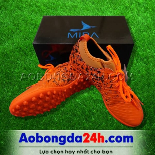 Giày Mira 02 (MR02) màu cam chính hãng, đinh TF, da PU chống nước