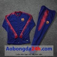 Bộ áo nỉ thể thao cao cấp Barca xanh 2018