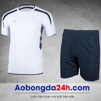 Áo bóng đá không logo KL mẫu 2 màu trắng