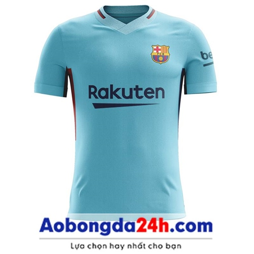 Áo đá bóng Barcelona 2017-2018 sân khách màu xanh ngọc