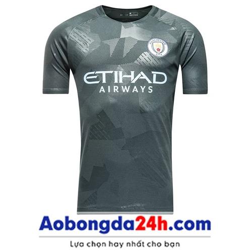 Áo đá banh Man City 2017-2018 màu xám mẫu thứ 3