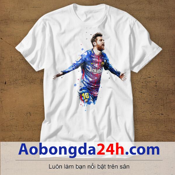 Mẫu áo phông thể thao in hình Messi mẫu 03