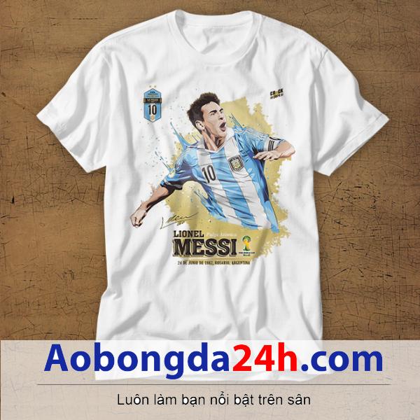 Mẫu áo phông thể thao in hình Messi mẫu 32