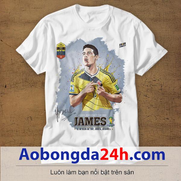 Mẫu áo phông thể thao in hình James Rodriguez mẫu 34