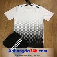 Áo bóng đá không Logo All Black Trắng Đen