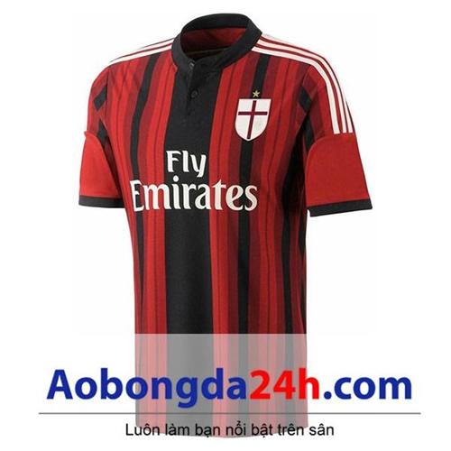Áo đấu Ac Milan 2014-2015 sân nhà sọc đỏ đen
