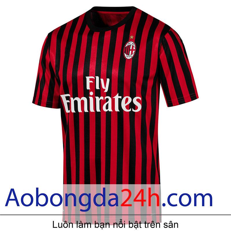Áo Ac Milan 2019 - 2020 sân nhà sọc đỏ đen