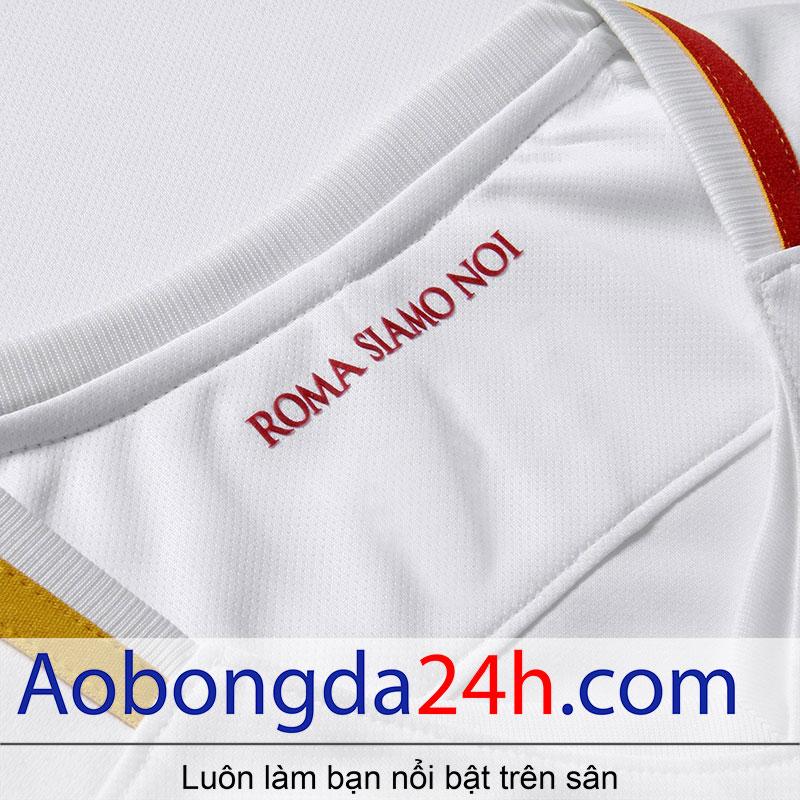 áo bóng đá As roma 2017-2018 sân khách màu trắng - cổ áo