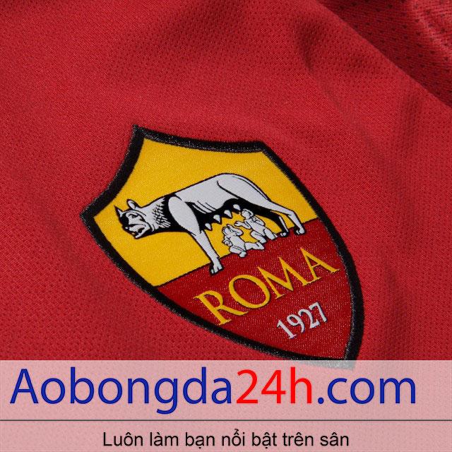 Áo bóng đá As roma 2017-2018 sân nhà màu đỏ - huy hiệu