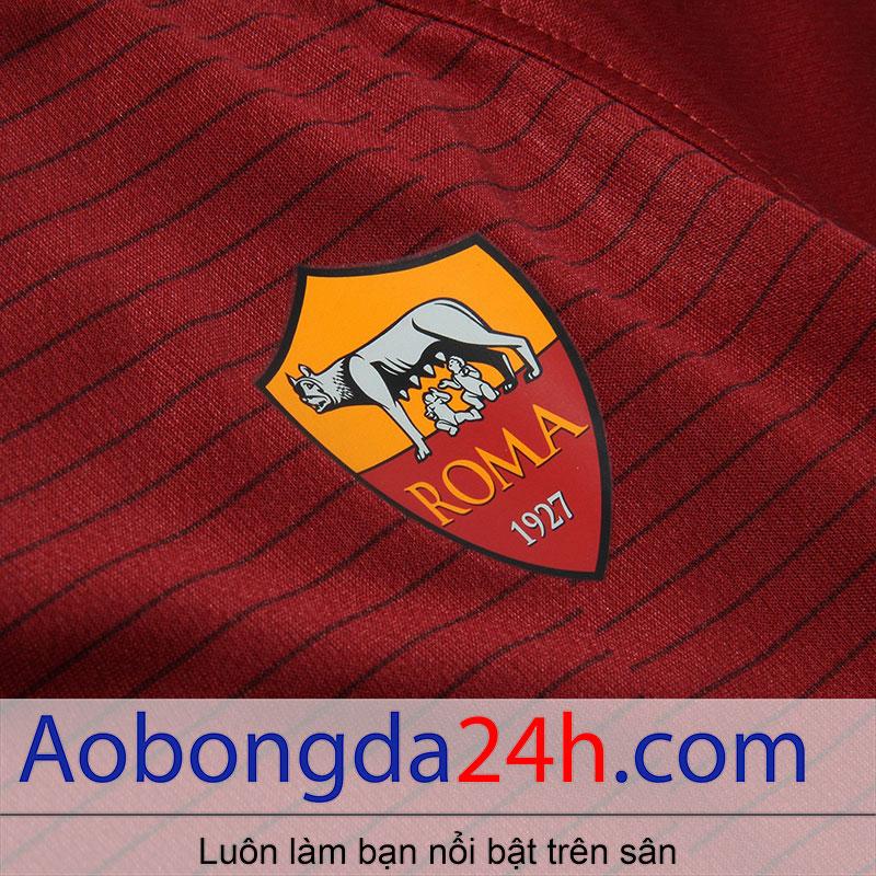 áo bóng đá As roma 2016-2017 sân nhà màu đỏ-huy hiệu