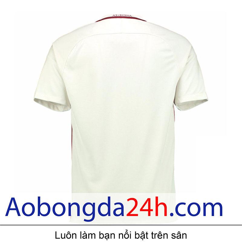 áo bóng đá As roma 2016-2017 sân khách màu trắng-mặt sau