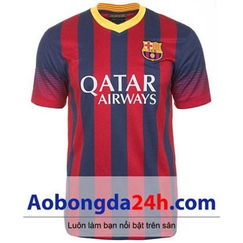 Áo đá banh Barcelona 2013-2014 đỏ sọc xanh