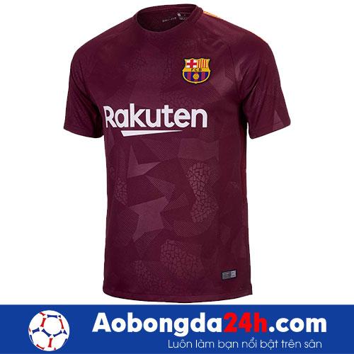 Áo Barcelona 2017-2018 mẫu thứ 3 - màu bã trầu-mặt trước