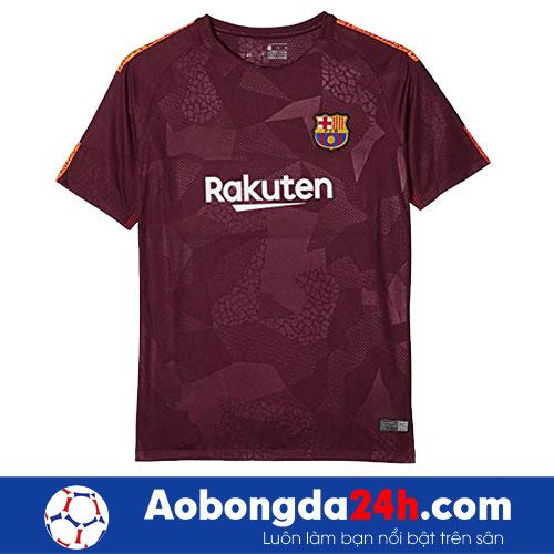 Áo Barcelona 2017-2018 mẫu thứ 3 - màu bã trầu-mặt trước-mặt2