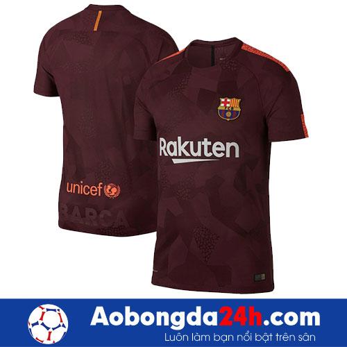 Áo Barcelona 2017-2018 mẫu thứ 3 - màu bã trầu- trước sau