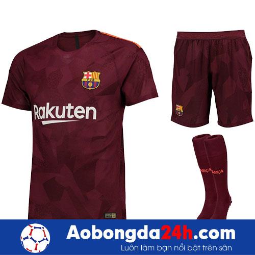 Áo Barcelona 2017-2018 mẫu thứ 3 - màu bã trầu-mặt trước-bộ quần áo
