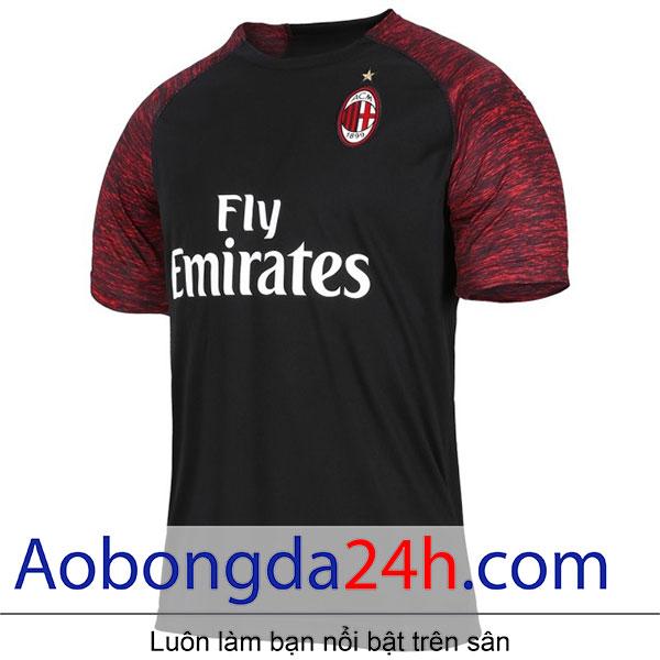 Áo bóng đá Ac Milan 2018-2019 mẫu thứ 3 - màu đen - mặt trước