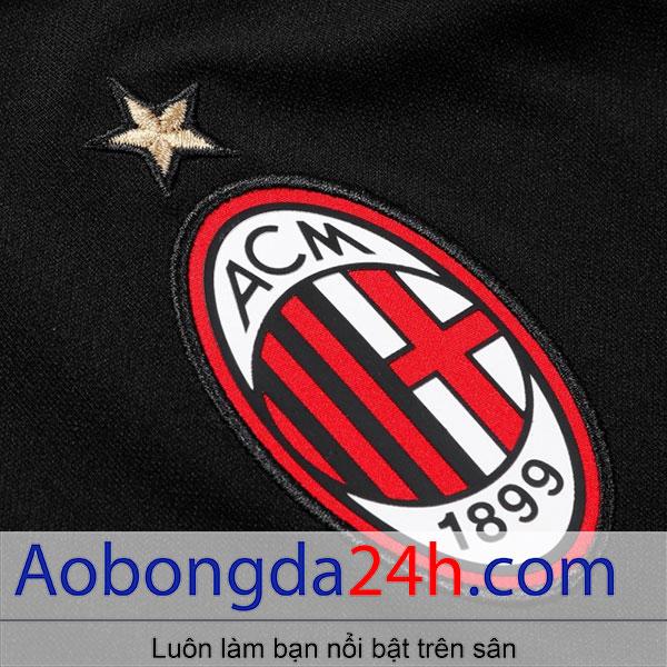 Áo bóng đá Ac Milan 2018-2019 mẫu thứ 3 - màu đen - huy hiệu