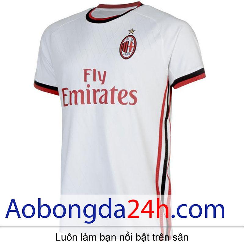 áo bóng đá thi đấu CLB Ac Milan 2017/18 màu trắng-mặt trước