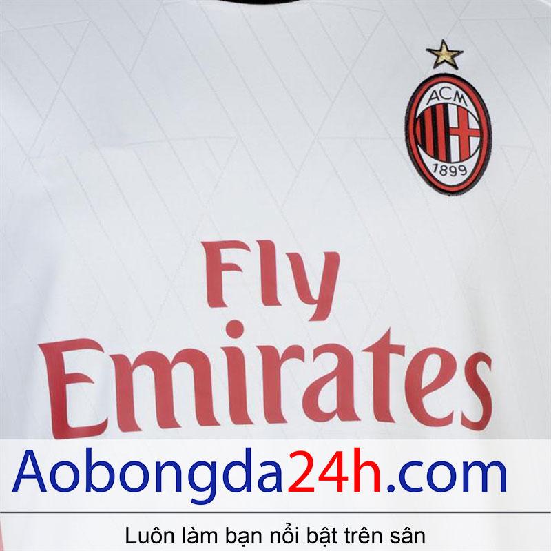áo bóng đá thi đấu CLB Ac Milan 2017/18 màu trắng-huy hiệu