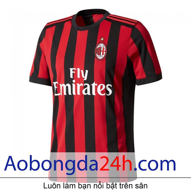 Áo bóng đá Ac Milan 2017-2018 sân nhà sọc đỏ đen-mặt trước