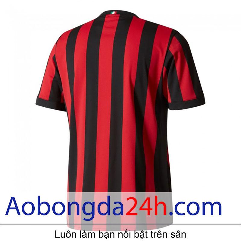 Áo bóng đá Ac Milan 2017-2018 sân nhà sọc đỏ đen-mặt sau