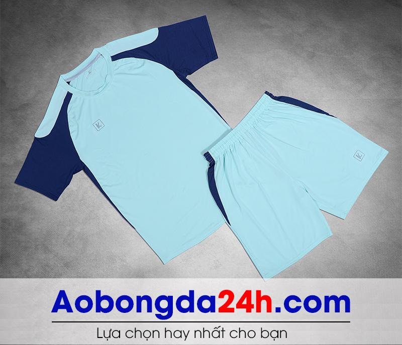 Áo bóng đá không logo Aither mẫu 08 màu xanh da trời