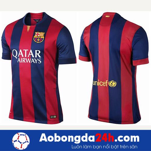 Áo CLB Barca 2014-2015 sân nhà màu đỏ sọc xanh