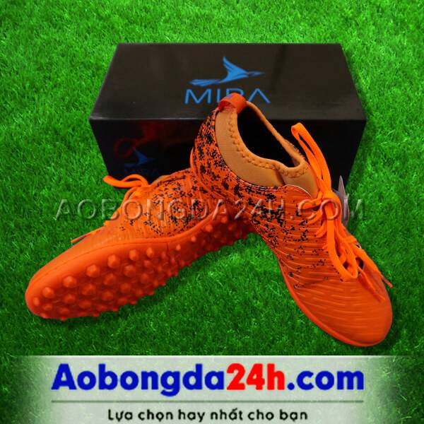 Giày Mira 02 màu cam chính hãng, đinh TF, da PU chống nước