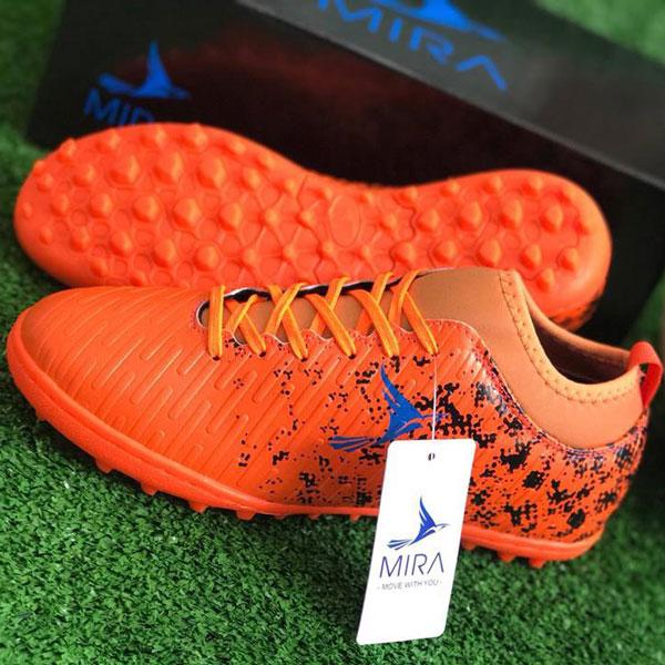 Giày Mira 02 màu cam chính hãng, đinh TF, da PU chống nước-2