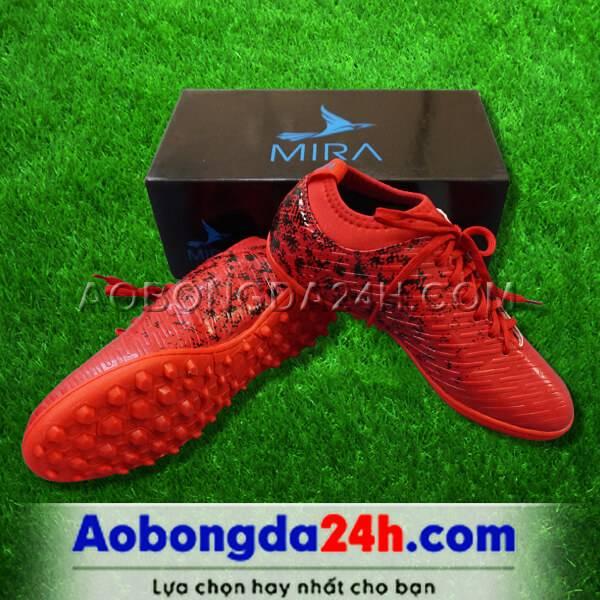 Giày Mira 02 (MR02) màu đỏ ngọc, đinh TF, da PU chống nước