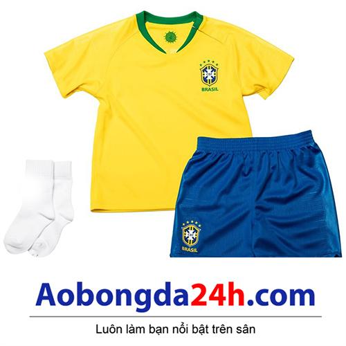 Quần áo thể thao trẻ em đội tuyển Brazil 2018-2019 sân nhà